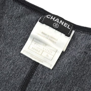 CHANEL Sleeveless Swimwear Swimsuit Black #36 02P