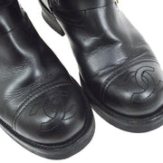 CHANEL CC Logos Medium Boots Shoes Black #36