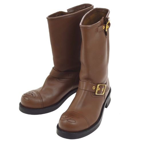 CHANEL CC Logos Medium Boots Shoes Brown #37