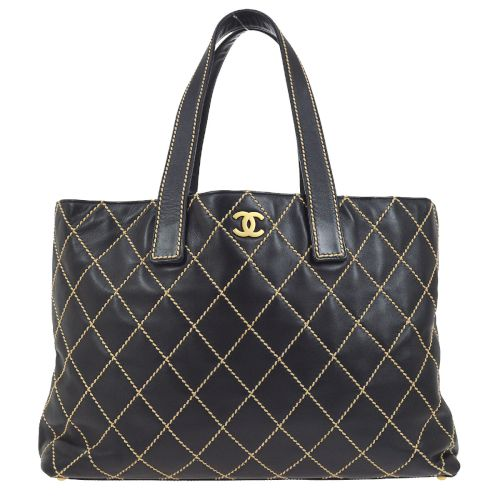 CHANEL Wild-Stitched Shoulder Tote Bag Black