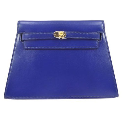 HERMES KELLY Clutch Hand Bag Blue Box Calf