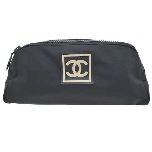 CHANEL Sport Line CC Logos Cosmetic Pouch Black