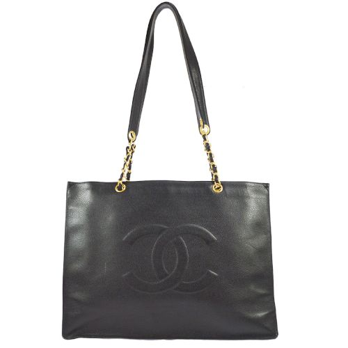 CHANEL Jumbo XL CC Logos Shoulder Tote Bag Black Caviar Skin