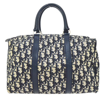 Christian Dior Trotter Pattern Boston Hand Bag Navy