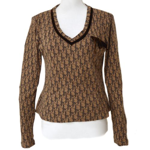 Christian Dior Trotter Pattern Bow Charm Long Sleeve Tops Brown