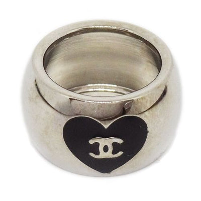 CHANEL CC Logos Heart Ring Black Silver #6.5
