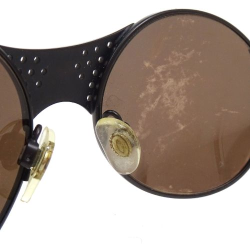 CHANEL CC Logos Rhinestone Sunglasses Mirror Lens Eye Wear Black