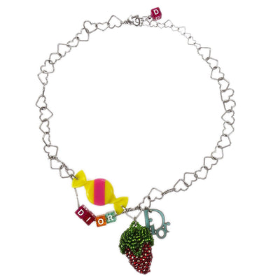 Christian Dior Strawberry Candy Silver Heart Chain Pendant Necklace