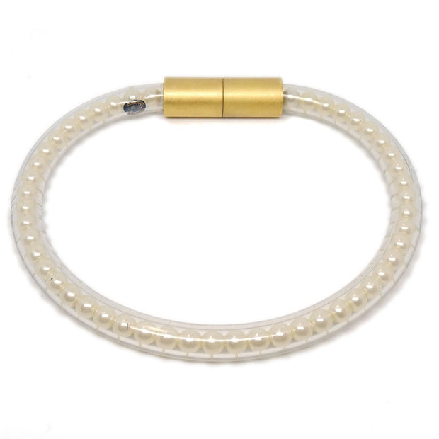 CHANEL CC Logos Imitation Pearl Bracelet Rubber Gold Clear White