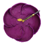 CHANEL CC Logos Brooch Pin Camellia Flower Motif Corsage Purple