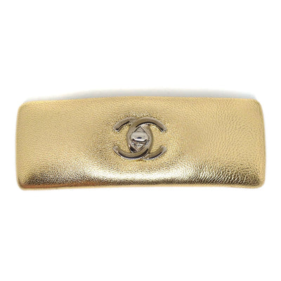 CHANEL CC Logos Turnlock Hair Clip Hairpin Barrette Gold Leather