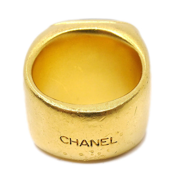 CHANEL CC Logos Imitation Stone Motif Ring Size 5.5 Gold Brown