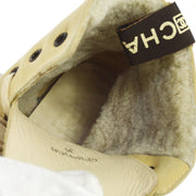 CHANEL CC Logos High Cut Shoes Short Boots Beige Suede #36