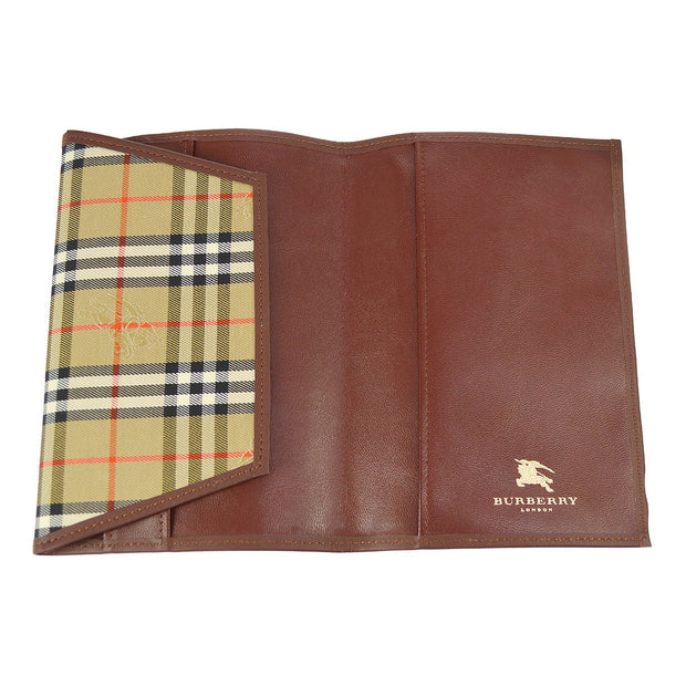 BURBERRY Plaid Agenda Notebook Cover Beige Canvas Leather