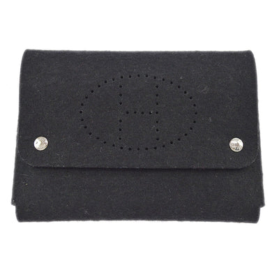 HERMES Evelyne Playing Cards Accessories Pouch Black Punching Felt