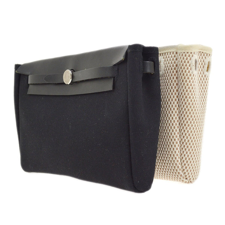 HERMES HERBAG POUCH Clutch Hand Bag Black Beige Toile H Officier