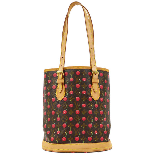 LOUIS VUITTON BUCKET PM SHOULDER TOTE BAG MONOGRAM CHERRY M95012