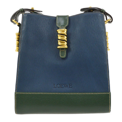 LOEWE VELAZQUEZ Cross Body Shoulder Bag Blue Green Combi Leather