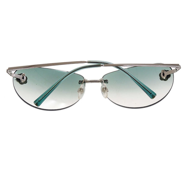 CHANEL CC Logos Camellia Sunglasses Eye Wear Green Plastic