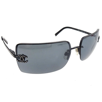 CHANEL CC Logos Rhinestone Sunglasses Eye Wear Black Plastic