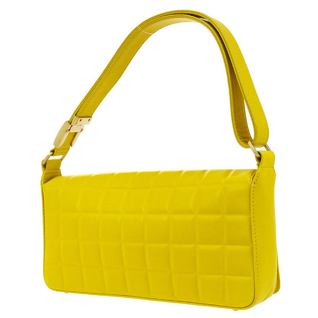 CHANEL Choco Bar CC Shoulder Bag Yellow