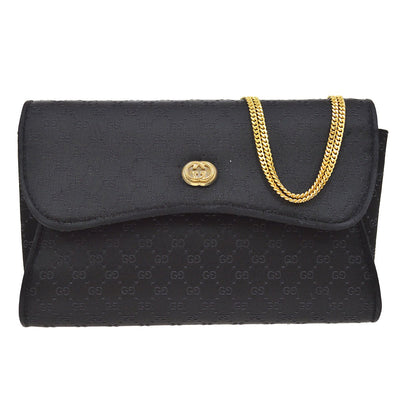GUCCI GG Pattern Double Chain Shoulder Bag Black Satin