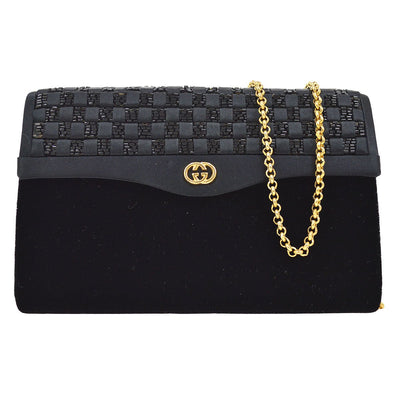 GUCCI Intrecciato Beads Chain Shoulder Bag Black Satin Velvet