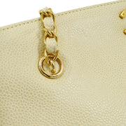 CHANEL CC Chain Shoulder Tote Bag Cream Caviar Skin