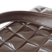 CHANEL Choco Bar CC Shoulder Tote Bag Dark Brown