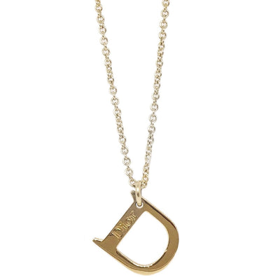 Christian Dior D Logos Rhinestone Gold Chain Pendant Necklace