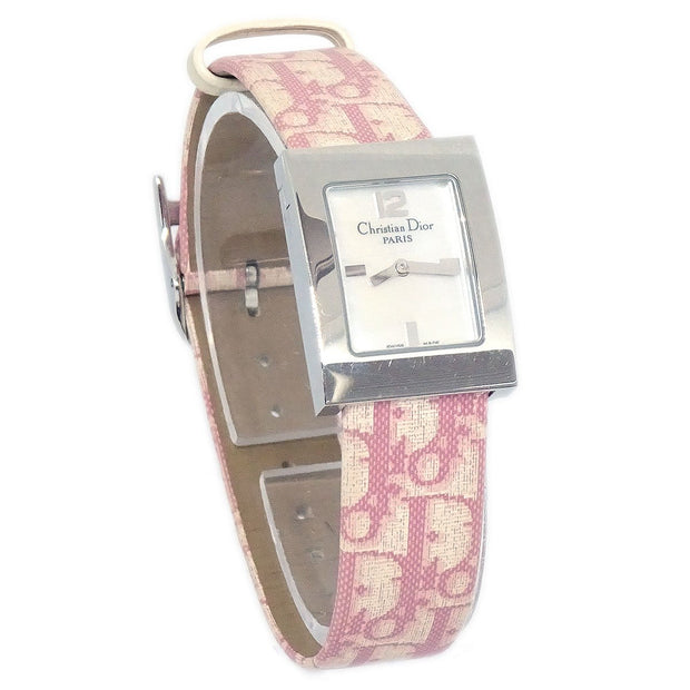 Christian Dior Flower Trotter Pattern Ladies Woman Wristwatch Watch Pink White