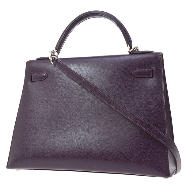 HERMES KELLY 32 SELLIER 2way Hand Bag Purple Couchevel