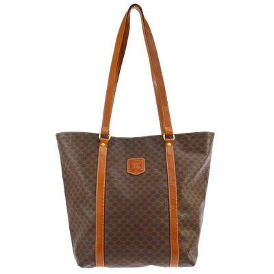 CELINE Macadam Pattern Shoulder Tote Bag Brown PVC