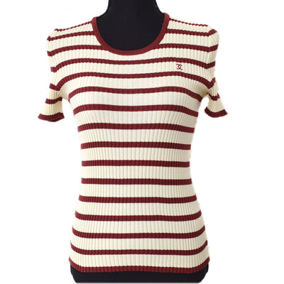 CHANEL #40 CC Border Short Sleeve Knit Tops Ivory Red