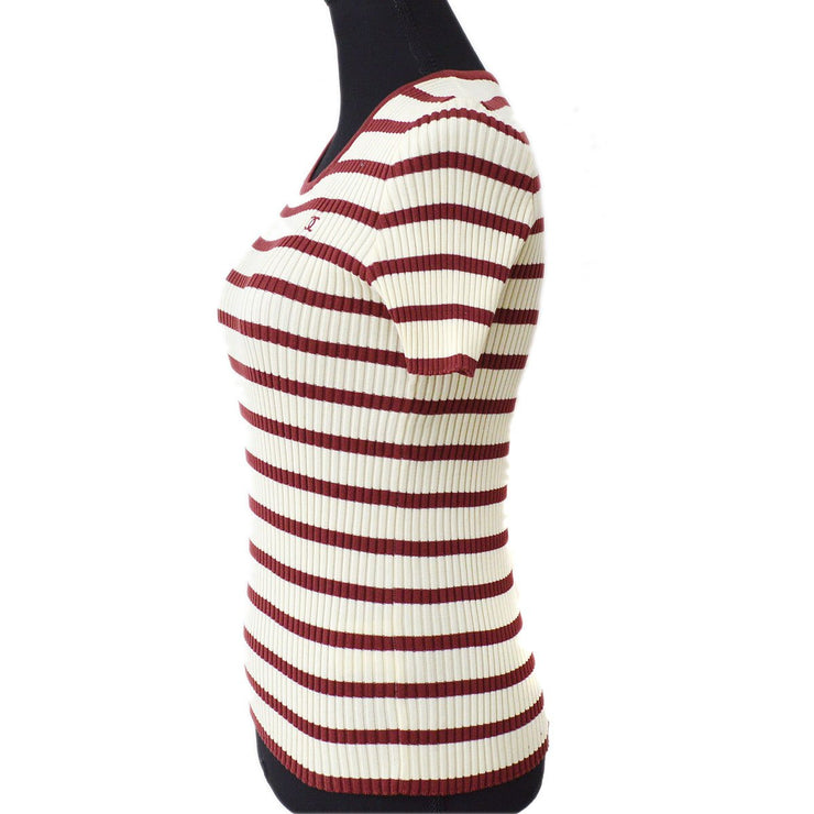 CHANEL #40 CC Border Short Sleeve Knit Tops Ivory Red 98P