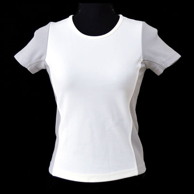 CHANEL #38 CC Sport Line Round Neck Short Sleeve Tops White Gray