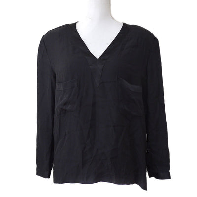 CHANEL V-neck CC Logos Button Long Sleeve Tops Shirt Black