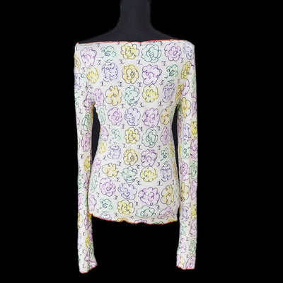CHANEL #40 Floral Long Sleeve Tops Beige Multi-color