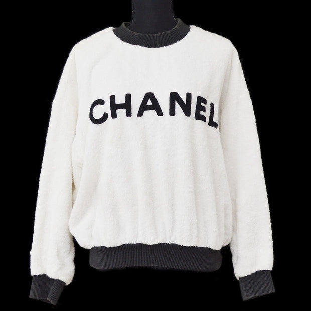 CHANEL Round Neck CC Long Sleeve Tops Sweatshirt White Black