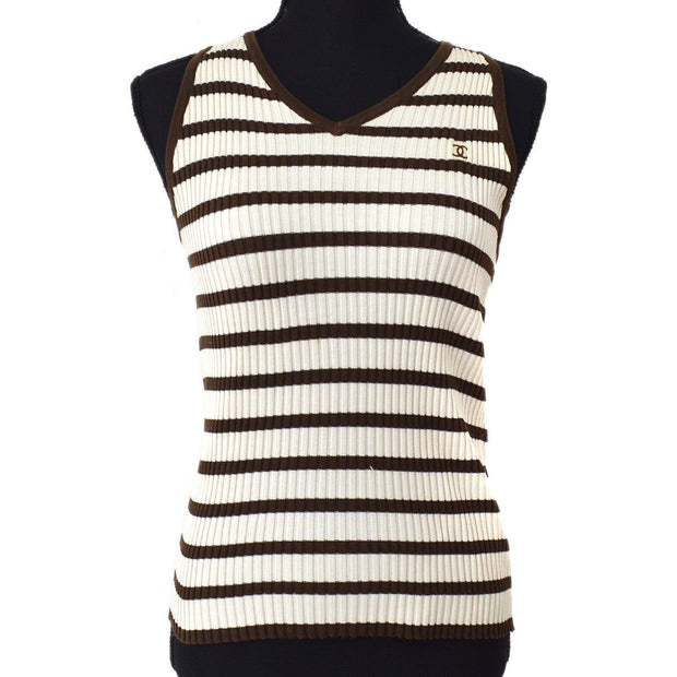 CHANEL #40 CC Border Sleeveless Knit Tops Ivory Brown