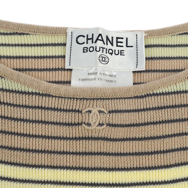 CHANEL #44 CC Border Sleeveless Knit Tops Yellow