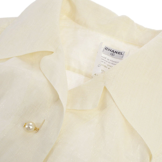 CHANEL #34 Imitation Pearl Button Short Sleeve Tops Shirt White