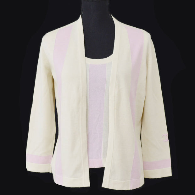 CHANEL #42 CC Logos Ensemble Cardigan Tops Ivory