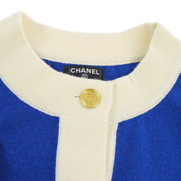 CHANEL CC Button Front Opening Long Sleeve Cardigan Blue Ivory