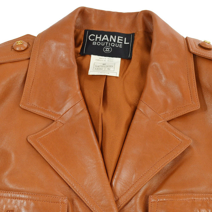 CHANEL #42 Single Breasted Long Sleeve Jacket Coats Brown 96A
