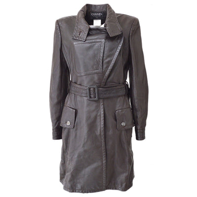 CHANEL #38 CC Belted Long Sleeve Jacket Coats Dark Brown