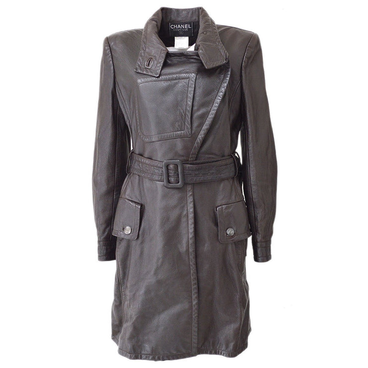 CHANEL #38 CC Belted Long Sleeve Jacket Coats Dark Brown 97A