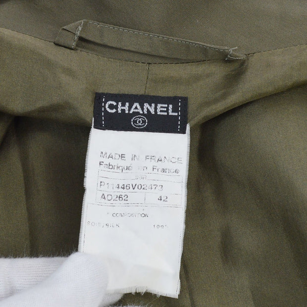 CHANEL #42 CC Logos Long Sleeve Trench Coat Khaki 98A