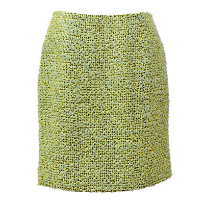 CHANEL #38 CC Logos Above the knee Tweed Skirt Green 94A