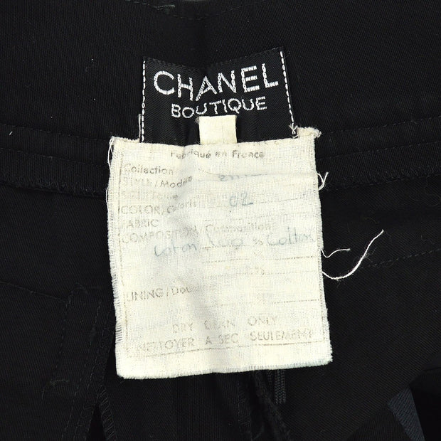 CHANEL #40 CC Button Logos Half Trousers Pants Black